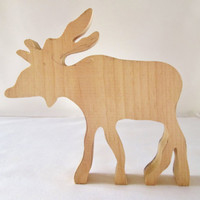 Unfinished Wood Moose, Wood Moose, Rustic Wood Moose, Christmas in July, CIJ, Christmasinjuly