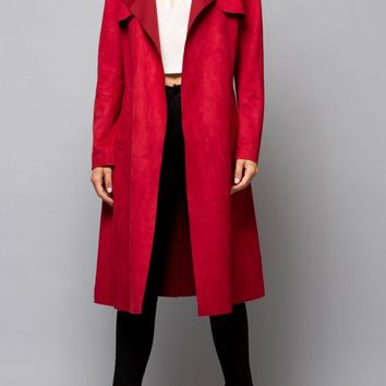 Faux Suede Trench in Red