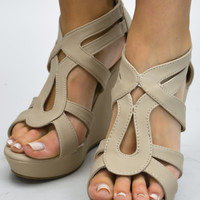 Womens Strappy Open Toe Wedge