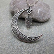 Antique Silver Moon Necklace, Crescent Moon Necklace, ,Owl Necklace ,Bird Necklace, Friendship, Graduation Gift
