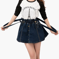 Deep Blue Denim Skirt Suspender