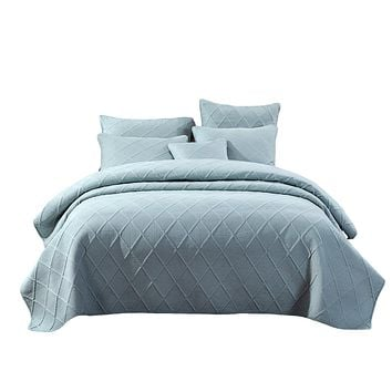 Tache Seafoam Blue Soothing Pastel Cotton Diamond Stitch Pattern Lightweight Bedspread (JHW-856)