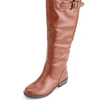 Zip-Back Flat Riding Boot: Charlotte Russe