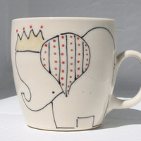 Coffee Cup - Elephant and Crown Mug - Cute Handmade Ceramics
