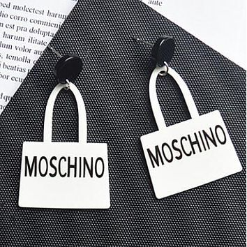 MOSCHINO Classic Popular Women Personality Exaggerated English Letter Handbag Pendants Earring Jewelry Accessories(4-Color) White I13580-1