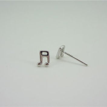 Music Note 925 Sterling Silver Stud Earrings