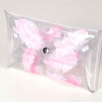 Clear clutch transparent bag with pink feathers bag real feathers transparent purse envelope bag clear pouch clear purse envelope clutch