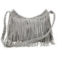 Amazon.com: Zicac Fringe Tassel Shoulder Messenger Bag Women Handbag (Grey): Beauty