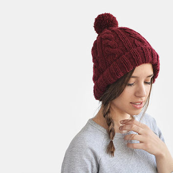 Image result for forever 21 maroon cable knit beanie