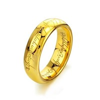 Man Gold Plating The Supreme Lord of The Rings Man Titanium Steel Ring