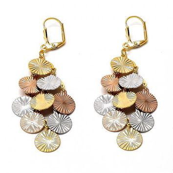 Gold Layered 02.63.2282 Chandelier Earring, Diamond Cutting Finish, Tri Tone