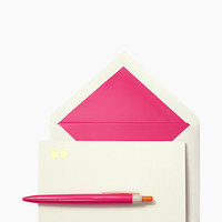 Kate Spade Yours Sincerely Pen & Notecard Set Orange Pink ONE