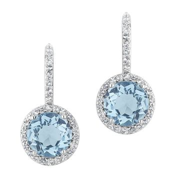 Blue Topaz and White Topaz Halo Earrings