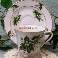 Mother in Law Personalized Porcelain Tea Cup (teacup) and Saucer