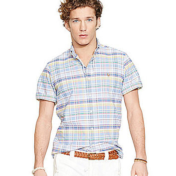 Polo Ralph Lauren Short-Sleeved Plaid Oxford Shirt - Blue Plaid