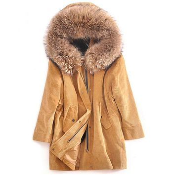 (TopFurMall)European Winter Women Parkas Coats Raccoon Fur Hoody Mink Fur Lining Lady Warm Overcoat LF4174