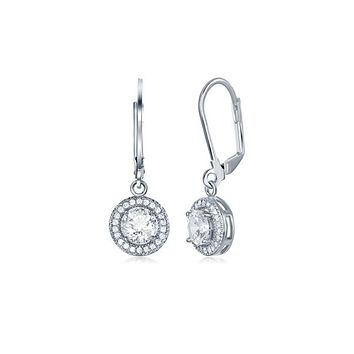 Unique In Style Trendy Earrings Pave Halo Disc Drop Earring Embellished with Swarovski Crystals in 18K White Gold Plated