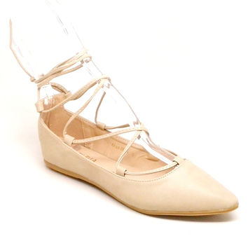 Natural Color Pointed Flats with Long Ankle Strap