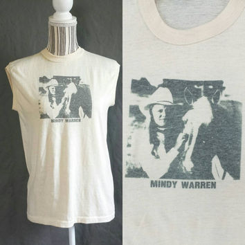 Cowgirl and Horse Tank Top, Vintage Photo Tshirt, Horseback Riding, 70s Muscle Tee, Retro Sleeveless T Shirt, Paper Thin Animal Shirt, 1970s