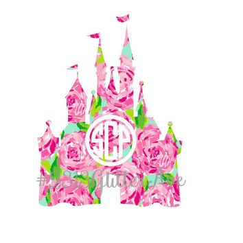 Lilly Pulitzer Inspired Castle Monogram Decal - Disney - Minnie - Mickey - Mouse - First Impressions - Crown Jewels - Lulu -