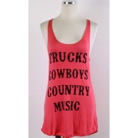 Trucks Cowboys Country Music Tank - Coral