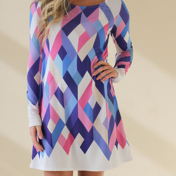 Geometric Long Sleeve Dress - Blue