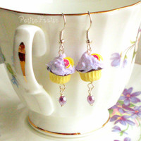 Girl Cupcake Earrings In Lilac And .. on Luulla