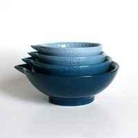 Ombré Ocean Blue Nesting Measuring Cup Set - Hand Painted - Made To Order