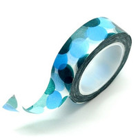 Washi Tape Paper Masking Tape - Blue Green Polka Dots
