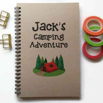 Writing journal, spiral notebook, Bullet journal kraft journal lined blank grid pages, personalized custom - Camping adventure, camp journal