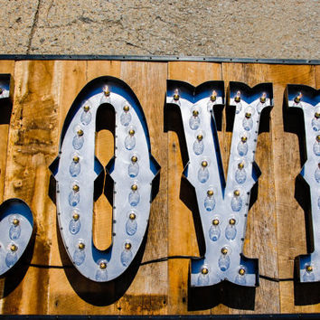 Signs!! open, love, marquee sign with bulb. Any FOUR letters, any font. Great for weddings and business. Custom sizes and logos available.