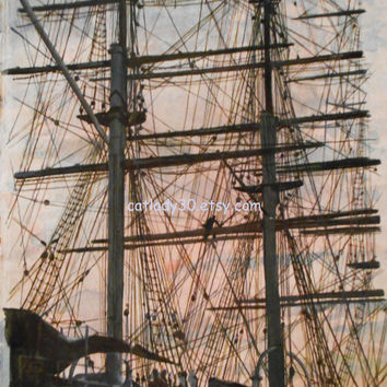 Water Color : Original Clipper Ship watercolor painting. Clipper painting. Ship painting. Watercolor art. Nautical decor. Ship artwork.