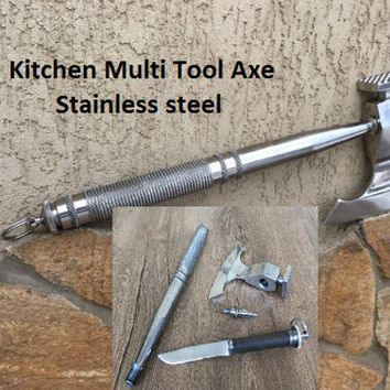 Multi tool, multitool, kitchen axe, kitchen hammer, meat hatchet, kitchen cleaver, viking axe, butcher axe, multi tool engraved, cookware