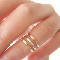 Above the knuckle rings Trio in 925 Sterling Silver/ 14k Pink Rose gold fill/ 14k Yellow Gold fill