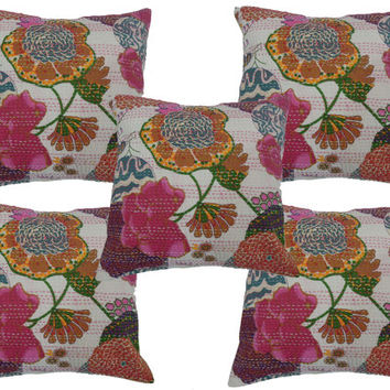 Kantha cushions, Kantha Pillow , Cushions Set 5pc,Embroidered pillow, Couch Pillow , Decorative pillow, Wholesale Lot 5pc