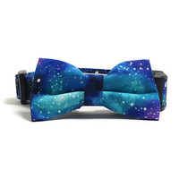 Dog Collar - Collar and Bow Tie - Galaxy Dog Collar - Galaxy Dog Bow Tie - Milky Way Dog - Collar Bow Tie Set - Space Dog Collar