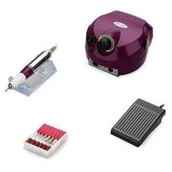PEAP8 Belle Electric Nail Art Drill File Manicure Pedicure Machine Complete Professional Set with Upgraded Anti-scald Handpiece , 30,000RPM, Purple