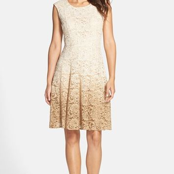 Women's Chetta B Ombre Lace Fit & Flare Dress,
