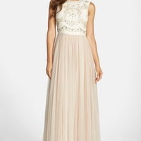 Women's Needle & Thread Embellished Bodice Georgette & Tulle Gown,