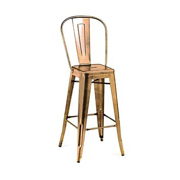 Dreux Vintage Copper High Back Steel Barstool 30 Inch (Set of 4)