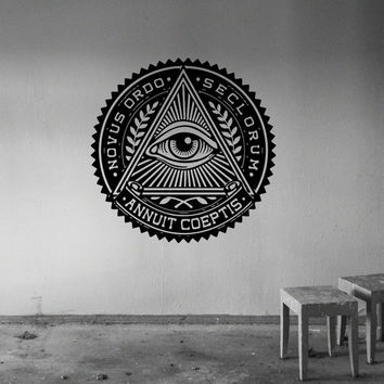 Annuit Coeptis Wall Decal Vinyl Sticker Decals Art Home Decor Design Mural Quote Decal Illuminati Sign Eye Bedroom Dorm Nursery AN545