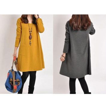 LMFUG3 Fashion Maternity Dress Women Pregnance Long Sleeve Casual Loose Dress Autumn Winter = 1946485380