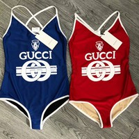 Gucci Women Front Word Print Backless Cross Design One Piece Vest Tan Top Bikini Swim B104485-1 Red/Blue