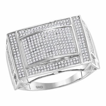 10kt White Gold Men's Round Pave-set Diamond Convex Dome Rectangle Cluster Ring 3/4 Cttw - FREE Shipping (US/CAN)