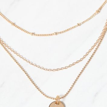 Gold Disc Layered Necklace | PacSun