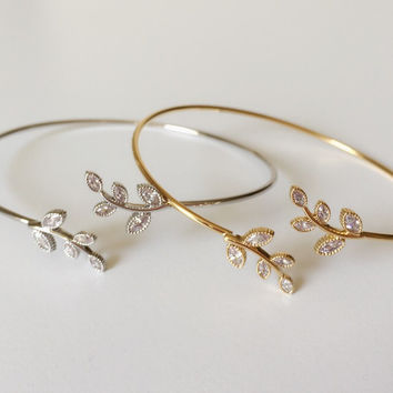 Crystal Leaf Bangle