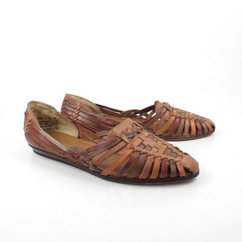 Brown Woven Sandals Vintage 1980s Cabin Creek Leather Huaraches Women's size8