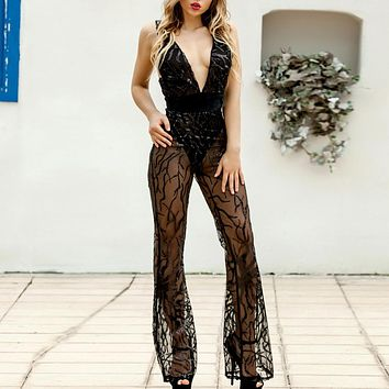 Fashion Deep V Sexy Night Club Perspective Broad-legged sequined pants with high waist and back to trousers