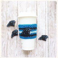 Crochet Coffee Cozy Carolina Panthers Cozy Tea Sleeve Blue Black White Coffee Cozie Reuseable Cup Sleeve