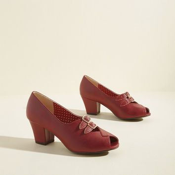 B.A.I.T. Footwear Dance Hall Date Block Heel in Burgundy